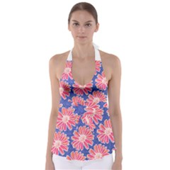 Pink Daisy Pattern Babydoll Tankini Top