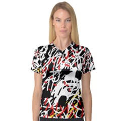 Colorful chaos by Moma Women s V-Neck Sport Mesh Tee