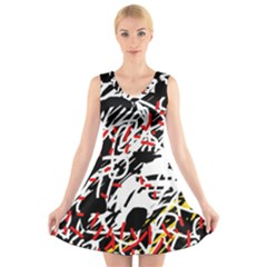 Colorful chaos by Moma V-Neck Sleeveless Skater Dress