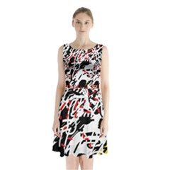Colorful chaos by Moma Sleeveless Waist Tie Dress