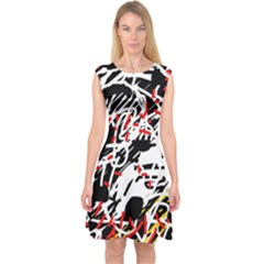 Colorful chaos by Moma Capsleeve Midi Dress