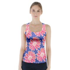 Pink Daisy Pattern Racer Back Sports Top