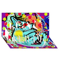 Abstract animal Best Friends 3D Greeting Card (8x4)