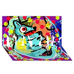 Abstract animal BEST SIS 3D Greeting Card (8x4)
