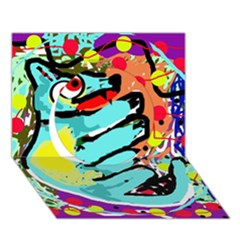 Abstract animal Circle 3D Greeting Card (7x5)