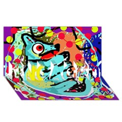 Abstract animal ENGAGED 3D Greeting Card (8x4)