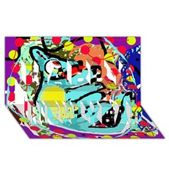 Abstract animal Happy New Year 3D Greeting Card (8x4)