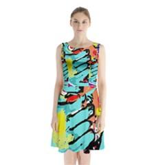 Abstract animal Sleeveless Waist Tie Dress