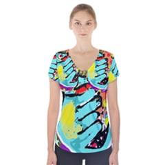 Abstract Animal Short Sleeve Front Detail Top