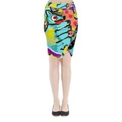 Abstract animal Midi Wrap Pencil Skirt