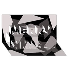 Simple gray abstraction Merry Xmas 3D Greeting Card (8x4)
