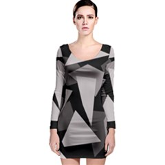 Simple gray abstraction Long Sleeve Bodycon Dress