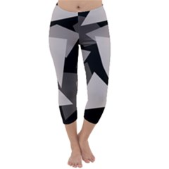 Simple Gray Abstraction Capri Winter Leggings
