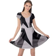 Simple gray abstraction Cap Sleeve Dresses
