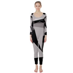 Simple gray abstraction Long Sleeve Catsuit