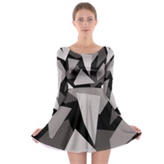 Simple gray abstraction Long Sleeve Skater Dress