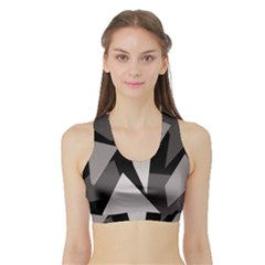 Simple gray abstraction Sports Bra with Border