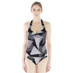 Simple gray abstraction Halter Swimsuit