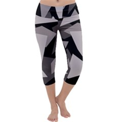 Simple gray abstraction Capri Yoga Leggings