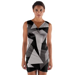 Simple gray abstraction Wrap Front Bodycon Dress