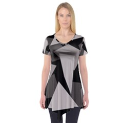 Simple Gray Abstraction Short Sleeve Tunic