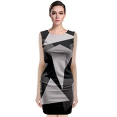 Simple Gray Abstraction Classic Sleeveless Midi Dress