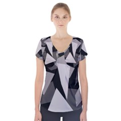 Simple gray abstraction Short Sleeve Front Detail Top
