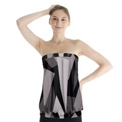 Simple Gray Abstraction Strapless Top