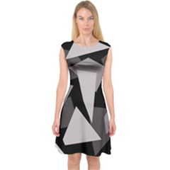 Simple Gray Abstraction Capsleeve Midi Dress