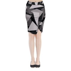 Simple Gray Abstraction Midi Wrap Pencil Skirt
