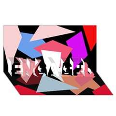 Colorful geometrical design ENGAGED 3D Greeting Card (8x4)