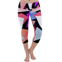 Colorful geometrical design Capri Yoga Leggings