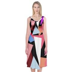 Colorful Geometrical Design Midi Sleeveless Dress