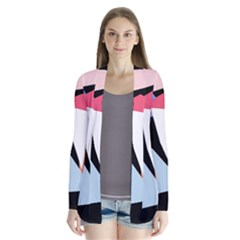 Colorful geometrical design Drape Collar Cardigan