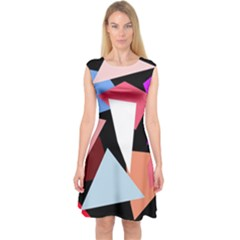 Colorful Geometrical Design Capsleeve Midi Dress