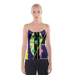 Crazy abstraction by Moma Spaghetti Strap Top