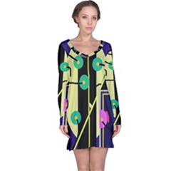 Crazy abstraction by Moma Long Sleeve Nightdress