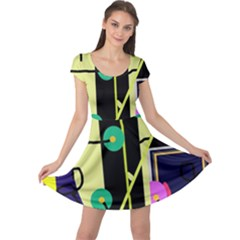 Crazy abstraction by Moma Cap Sleeve Dresses