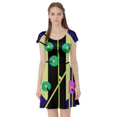 Crazy abstraction by Moma Short Sleeve Skater Dress