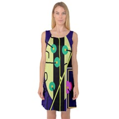 Crazy abstraction by Moma Sleeveless Satin Nightdress