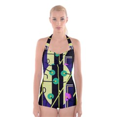 Crazy abstraction by Moma Boyleg Halter Swimsuit
