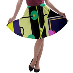 Crazy abstraction by Moma A-line Skater Skirt