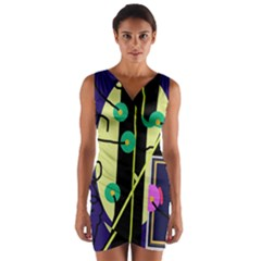 Crazy Abstraction By Moma Wrap Front Bodycon Dress