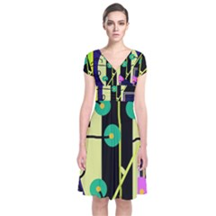 Crazy Abstraction By Moma Short Sleeve Front Wrap Dress