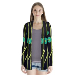 Crazy abstraction by Moma Drape Collar Cardigan