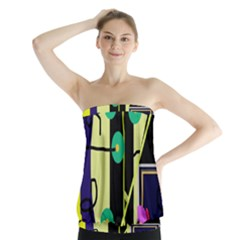Crazy Abstraction By Moma Strapless Top