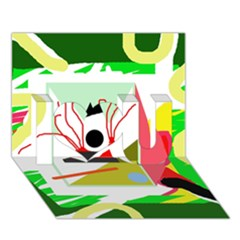 Green abstract artwork I Love You 3D Greeting Card (7x5)
