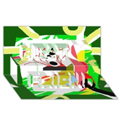 Green abstract artwork Best Friends 3D Greeting Card (8x4)
