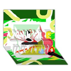 Green abstract artwork YOU ARE INVITED 3D Greeting Card (7x5)