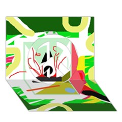 Green abstract artwork Peace Sign 3D Greeting Card (7x5)